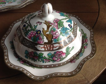 Stunning (Older Antique) Scalloped England Coalport Indian Tree Ad 1750 Muffin Dish With Lid Two Piece