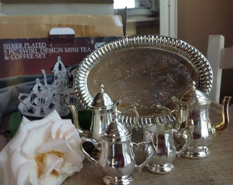 Vintage Godinger's Silver Plated Childrens Tea Set 5 Piece Swirl Set with Teapot AND Coffee Pot
