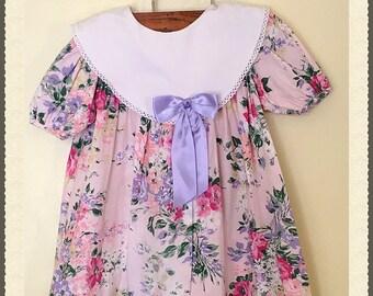 Vintage pink shabby dress for little girls, pink floral dress for little girls , pink dress for girls, pink Easter dress ( 3T-4T)