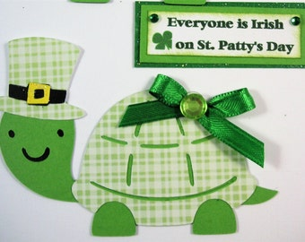 2 St Patricks Day Turtles, Die cuts, Scrapbook Embellishment, Card Topper