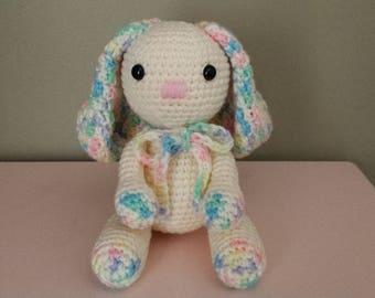 Bunny Rabbit - Crochet Amigurumi Stuffed Animal Plush - Off white Cream Multi