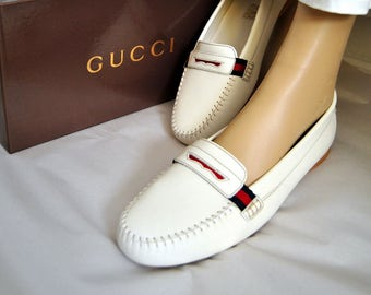 Vintage Gucci Loafers, Leather Shoes, Unisex, Designer, Flats, White Cream, Androgynous Style, Box, Italy