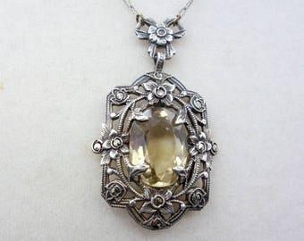 Art Deco Citrine Silver Marcasite Necklace, Antique Yellow Topaz Necklace, Art Deco Necklace