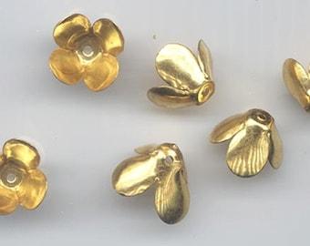 24 vintage gold tone metal bead caps with petals - 15.5 x 8.8 mm