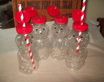 New Honey Bear Kids Milk Bottles -Juice Bottles Red Flip Top Lids with  Straws Holes With Red Straws Birthday Set of 10