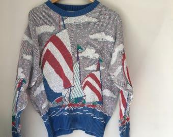 sailboat sweater, 80s sweater, 80s nautical motif, summer sweater, beach clothing, hamptons, east coast, vintage sailboat, vintage boat
