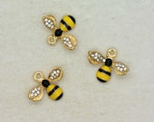 1 - Rhinestone Bee Charm - Enamel Gold Brass Vintage Style Pendant Charms Jewelry Supplies (AS062)