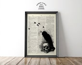 Edgar Allen Poe's The Raven Gothic Literature Inspired Collage Print on an Unframed Upcycled Bookpage