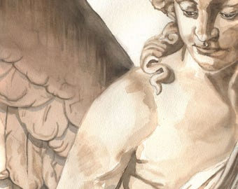Angel, 8x10 print from original watercolor/pencil painting, angels, art & collectibles, wall decor, home decor, earthspalette
