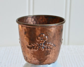 Copper drinking cup, rustic vintage Swedish country houseware, farmhouse utensil, kitchenware, tarnished copper