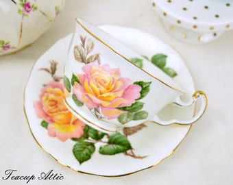 Adderley Peace Rose Teacup and Saucer, Vintage English Tea Cup And Saucer Set, Wedding Gift, ca.  1964