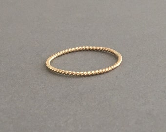 Thin TWISTED Stackable Ring also in Rose Gold and Sterling Silver