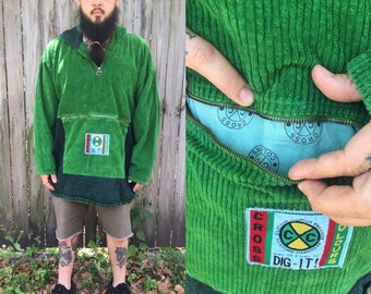 Vintage Rare Cross Colours Pullover Hoodie Drug Rug 3XL  pockets pouch hood