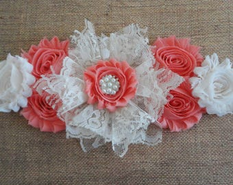 Girl Maternity Sash, Ivory/Coral Lace Flower Sash, Creme/Coral Maternity Sash, Lace/Satin Belly Sash, Pregnancy Sash, Maternity Photo Prop