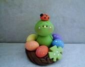 St. Patty's Day Bird - Nest of Rainbow Eggs - Polymer Clay - Figurine