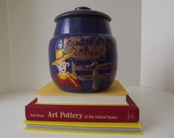 Vintage Western Theme Cowboy Cookie Jar With Lid, Cookie Coral, Colbalt Blue Glaze Stonewear, Kitchen Art Pottery, Circa 1940's