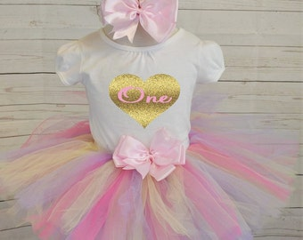 First Birthday girl outfit,FREE SHIPPING,  heart birthday outfit,birthday girl outfit, light pink,yellow and purple birthday outfit