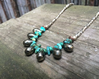 Teardrop Pyrite & Turquoise Necklace on Silver