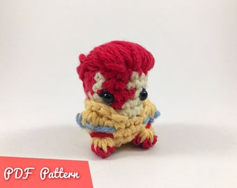 PDF Pattern for Crocheted David Bowie Amigurumi Kawaii Keychain Miniature Doll Plush