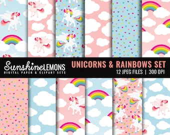 Unicorns and Rainbows Digital Scrapbooking Paper Set - COMMERCIAL USE Read Terms Below