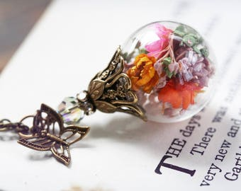 Limited Edition of 20 - Find My Wings Mother's Day Necklace - real preserved, tiny flowers inside glass topped with a butterfly