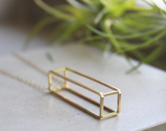 Vertical 3D Rectangle Necklace, geometric necklace, simple statement necklace, modern geometric jewelry
