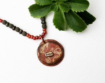 Hope Mixed Media Necklace, Pink Pendant Necklace, Mixed Media Jewelry, Beaded Jewelry, Seed Bead, Short, Inspirational Jewelry