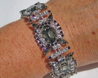 30% OFF SALE - Black Diamond and Crystal Five-Link Rhinestone Bracelet - Vintage Inspired