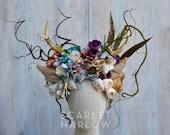 Deer headpiece - deer costume - deer headdress - fawn headpiece - fawn - antlers - woodland crown - flower crown.