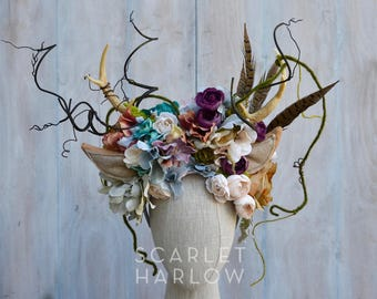 Deer headpiece - deer costume - deer headdress - fawn headpiece - fawn - antlers - woodland crown - flower crown.