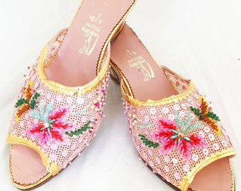 Slippers - Miami pink tropical beaded wooden poolside beach summer wedge heels size 6