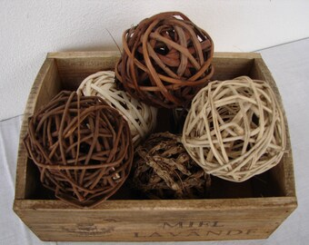 set 6, natural twig, vine decorative balls, bowl fillers, wedding table decor, shabby chic, rustic French style