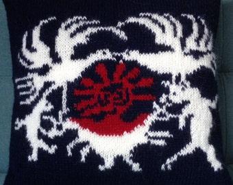 Pillow, Cushion, Scandinavian Design, UK Seller, Mythological, Alaska, Hand Knitted, Pure Wool, Inuit,