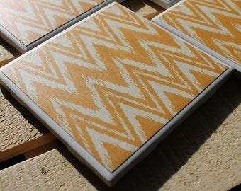 Yellow Chevron Four Piece Ceramic Tile Coaster Set