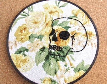 "Embroidery Hoop Art • ""Death Becomes Her"" • Skull on Floral Background Embroidery"
