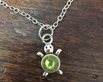 Turtle Bulllet Shell Birthstone Necklace