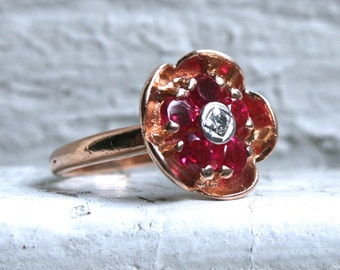 Pretty Vintage 14K Rose Gold Diamond and Ruby Flower Cluster Ring - 1.05ct.