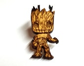 Baby Groot Pin   Laser Cut Jewelry   Wood Accessories