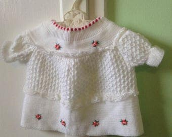 3-9M Baby Girl White Red Floral Vintage Spring Winter Retro