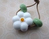 handmade lampwork white daisy flower glass focal bead, uk