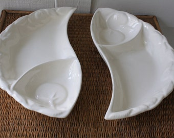 California pottery dishes, two serving dishes, white ceramic serving dishes, California pottery, entertaining