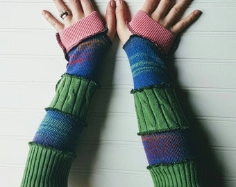 Arm warmers, Eco-Friendly gloves, wrist warmer, upcycled sweaters, patchwork cable knit fingerless gloves, bohemian glove, blue green