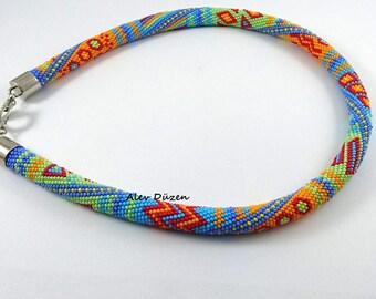 AN064 - Bead Crochet Necklace -  Turquoise Orange Triangle Beaded Necklace - Handmade Beadwork Necklace