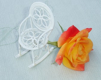 Vintage White Metal Wire Ornate Doll Furniture - Rocking Chair