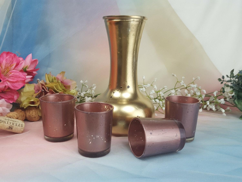 50 rose gold mercury glass wedding votive candle holders or. Black Bedroom Furniture Sets. Home Design Ideas