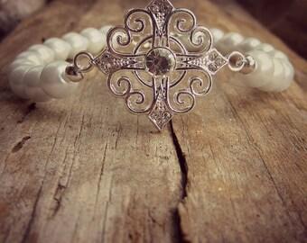 Pearl Bracelet • South Sea Pearls • Wedding Jewelry • Bridal Bracelet • Bridesmaid Bracelet • Bridal Gift • Filigree Cross Bride Bracelet