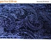 SALE Blue Paisley Velvet Plush Fabric Textile