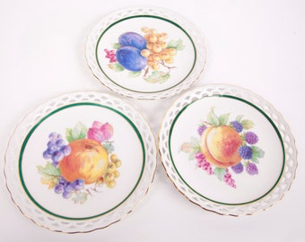 """Vintage Winterling Bavaria Plates Germany 61 Reticulated 7 1/2"""" Set of 3 Hand Painted Porcelain"""