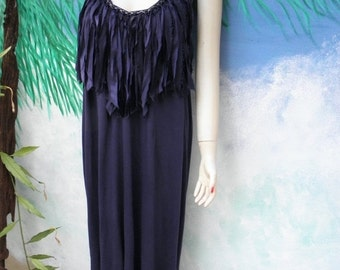 1/2 OFF New Deep Navy Blue Chain & Silk Fringed Embellished Halter Vintage Maxi Dress by Chan Luu