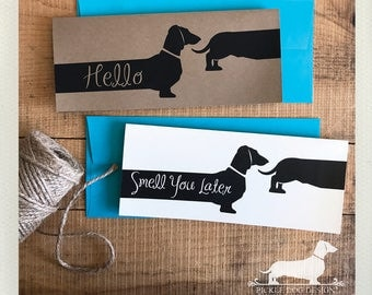 Long Doxie Hello. Note Card -- (Hello Card, Smell You Later, Funny, Let's Catch Up Soon, Dog, Dachshund, Vintage-Style, Cute Weiner Dog)